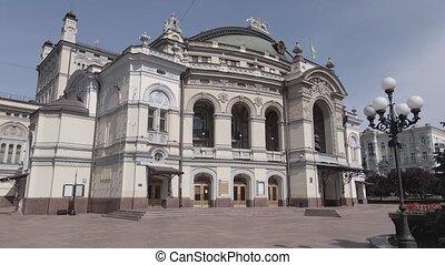 Kyiv. Ukraine: National Opera of Ukraine. Aerial view, slow ...