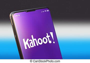 KYIV, UKRAINE-OCTOBER, 2020: Kahoot on Cellphone Screen.