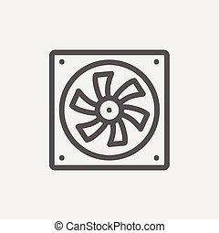 kylare, fodra, dator, tunn, ikon