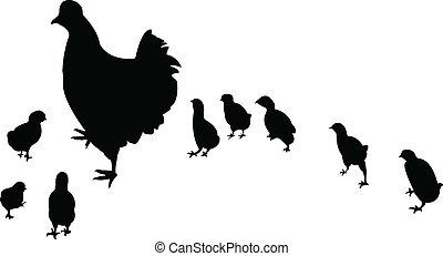 kylling, chicks, vektor, dets