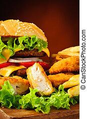 kylling guldklumper, burger, og, fransk steger