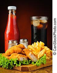 kylling guldklumper, fransk steger, coladrik, og, ketchup