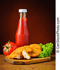 kylling guldklumper, og, ketchup tomat