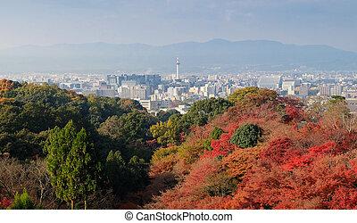 Kyoto City with autumn season in Japan from Kiyomizu Temple.