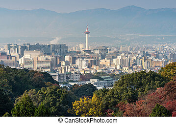 Kyoto City with autumn season in Japan view from Kiyomizu Temple.