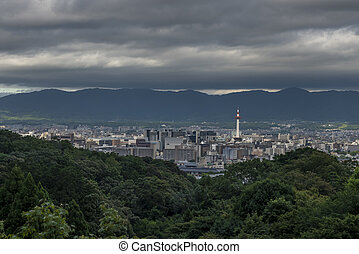 Kyoto City with summer season in Japan view from Kiyomizu Temple, with the Kyoto tower in view