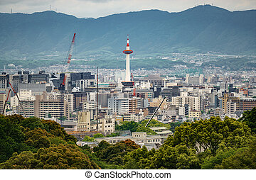 Kyoto city with tower and mountain range