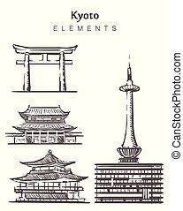 kyoto, edificios, hand-drawn, conjunto, elementos, vector,...