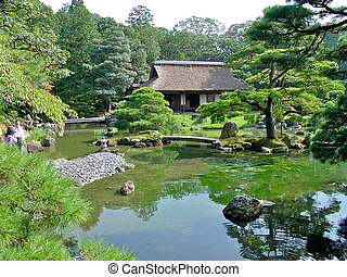 Japanese garden in Kyoto, Japan. Royal Family used to live here hundreds of years ago.