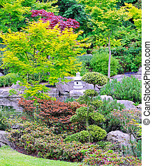 Kyoto green garden in traditional Japanese style