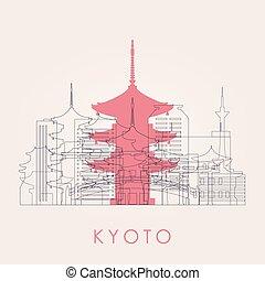 kyoto, horizon, contour, landmarks.