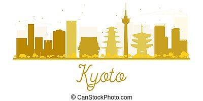kyoto, horizon, doré, ville, silhouette.