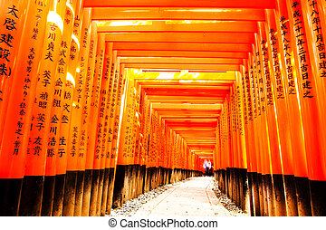 Fushimi Inari Taisha - Kyoto, Japan - April 14, 2013: ...