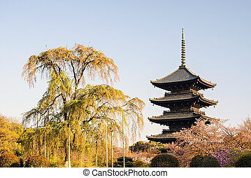Kyoto, Japan at Toji temple in summer