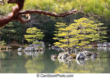 Japanese garden at famous Kinkakuji