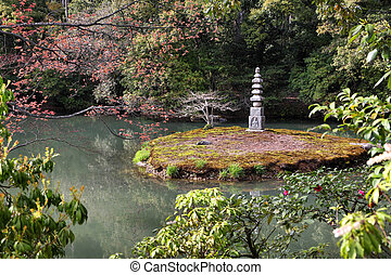Japan - Kyoto, Japan - Japanese garden at famous Kinkakuji...