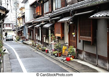 Kyoto, Japan - old residential suburb. Old Japanese ...