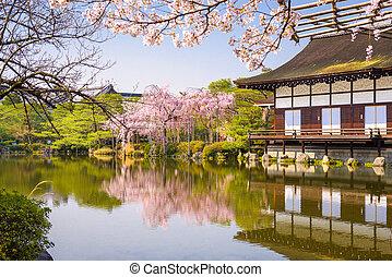 Kyoto, Japan spring at Heian Shrine's pond garden.