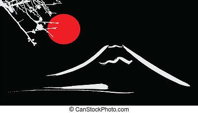 kyoto, monte fujiyama, sol, flores, osaka, rojo, vista