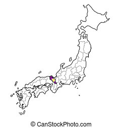 kyoto prefecture on administration map of japan