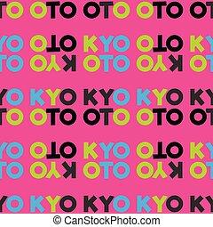 kyoto, seamless, patrón