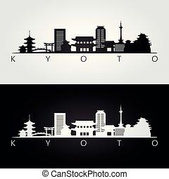 kyoto, silueta del horizonte, señales