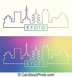 kyoto, skyline., style., coloré, linéaire