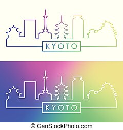 kyoto, skyline., style., colorido, lineal