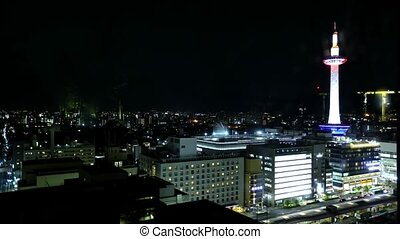 Kyoto Tower at night - TIME LAPSE: Aerial view of Kyoto ...