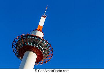 Kyoto Tower in Kyoto. - Kyoto Tower in Kyoto on blue sky ...