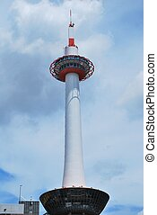 View of Kyoto Tower located in Kyoto prefecture in Japan. Considered as an important landmark in Western Japan.