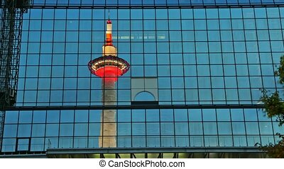 Kyoto Tower reflected - TIME LAPSE: Kyoto Tower with ...