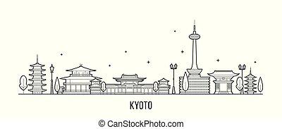 kyoto, vector, nadu, tamil, contorno, ciudad, japón