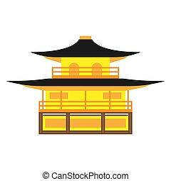 kyoto, zen, vector., temple, bouddhiste, kinkaku-ji, japan.