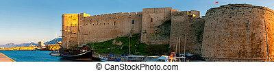 kyrenia., gammal, medeltida, cyprus., slott, harbour.