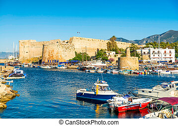 Kyrenia harbour with medieval castle on a background. Kyrenia (Girne), Cyprus