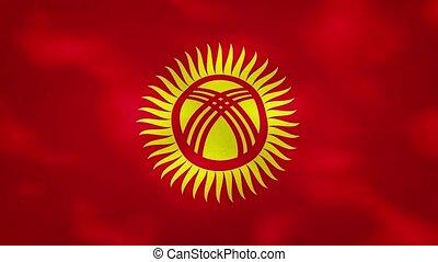 Kyrgyz dense flag fabric wavers, background loop - ...
