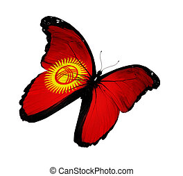 Kyrgyz flag butterfly flying, isolated on white background