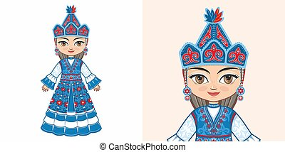 Kyrgyz girl in national costume
