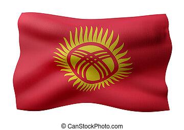 Kyrgyzstan 3d flag - 3d rendering of a silked Kyrgyzstan ...