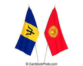 Kyrgyzstan and Barbados flags - National fabric flags of ...