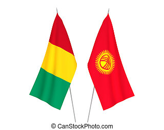 Kyrgyzstan and Guinea flags - National fabric flags of ...