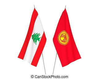 Kyrgyzstan and Lebanon flags - National fabric flags of ...
