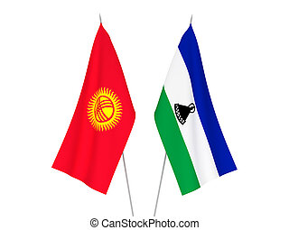 Kyrgyzstan and Lesotho flags - National fabric flags of ...