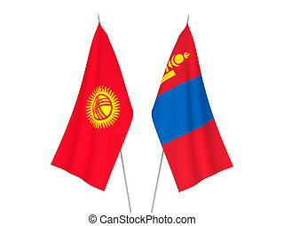 Kyrgyzstan and Mongolia flags - National fabric flags of ...