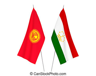 Kyrgyzstan and Tajikistan flags - National fabric flags of ...