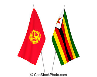 Kyrgyzstan and Zimbabwe flags - National fabric flags of ...