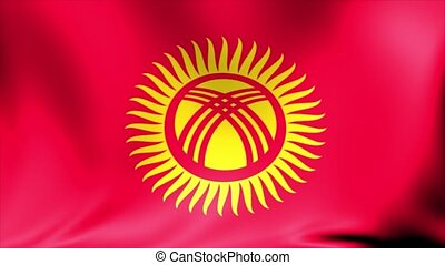 Kyrgyzstan Flag. Background Seamless Looping Animation.