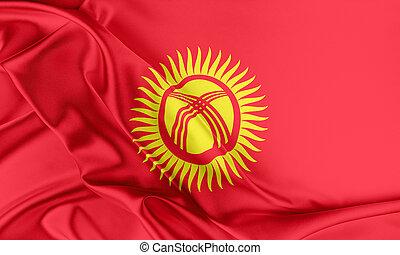 Kyrgyzstan Flag. Flag with a beautiful glossy silk texture.