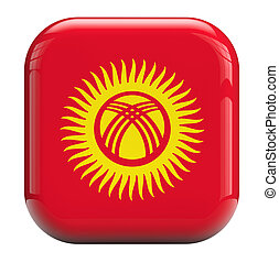 Kyrgyzstan flag isolated icon with clipping path.